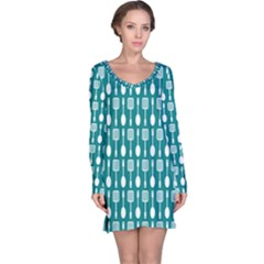 Teal And White Spatula Spoon Pattern Long Sleeve Nightdresses