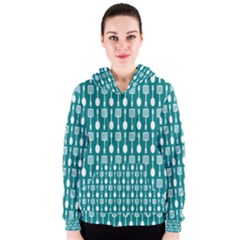 Teal And White Spatula Spoon Pattern Women s Zipper Hoodies