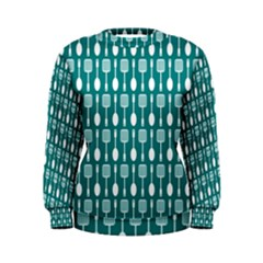 Teal And White Spatula Spoon Pattern Women s Sweatshirts