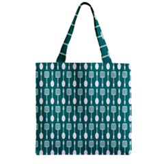 Teal And White Spatula Spoon Pattern Zipper Grocery Tote Bags