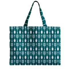 Teal And White Spatula Spoon Pattern Zipper Tiny Tote Bags