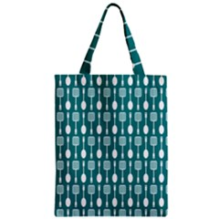 Teal And White Spatula Spoon Pattern Zipper Classic Tote Bags