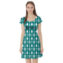 Teal And White Spatula Spoon Pattern Short Sleeve Skater Dresses