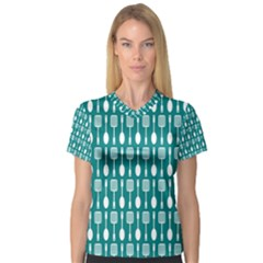 Teal And White Spatula Spoon Pattern Women s V-Neck Sport Mesh Tee