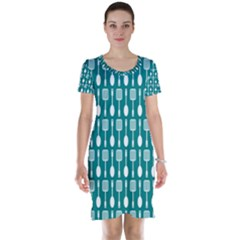 Teal And White Spatula Spoon Pattern Short Sleeve Nightdresses