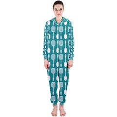 Teal And White Spatula Spoon Pattern Hooded Jumpsuit (Ladies)