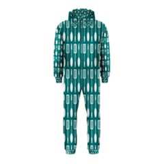 Teal And White Spatula Spoon Pattern Hooded Jumpsuit (Kids)