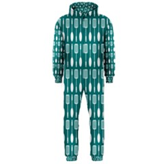 Teal And White Spatula Spoon Pattern Hooded Jumpsuit (Men)