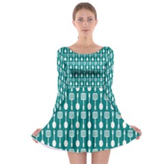Teal And White Spatula Spoon Pattern Long Sleeve Skater Dress