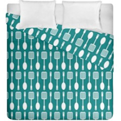 Teal And White Spatula Spoon Pattern Duvet Cover (king Size)