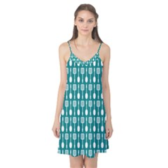 Teal And White Spatula Spoon Pattern Camis Nightgown