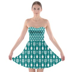 Teal And White Spatula Spoon Pattern Strapless Bra Top Dress