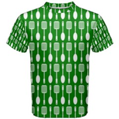 Green And White Kitchen Utensils Pattern Men s Cotton Tees