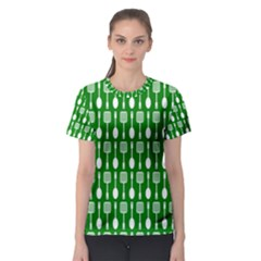 Green And White Kitchen Utensils Pattern Women s Sport Mesh Tees