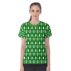 Green And White Kitchen Utensils Pattern Women s Cotton Tees