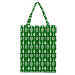 Green And White Kitchen Utensils Pattern Classic Tote Bags