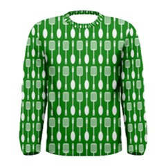 Green And White Kitchen Utensils Pattern Men s Long Sleeve T-shirts