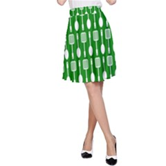 Green And White Kitchen Utensils Pattern A-Line Skirts
