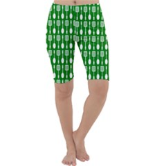 Green And White Kitchen Utensils Pattern Cropped Leggings