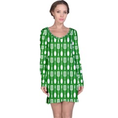 Green And White Kitchen Utensils Pattern Long Sleeve Nightdresses