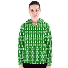 Green And White Kitchen Utensils Pattern Women s Zipper Hoodies
