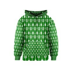 Green And White Kitchen Utensils Pattern Kids Zipper Hoodies