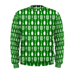 Green And White Kitchen Utensils Pattern Men s Sweatshirts