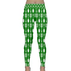 Green And White Kitchen Utensils Pattern Yoga Leggings