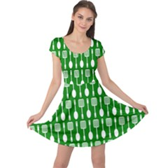 Green And White Kitchen Utensils Pattern Cap Sleeve Dresses