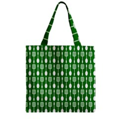 Green And White Kitchen Utensils Pattern Zipper Grocery Tote Bags