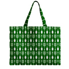 Green And White Kitchen Utensils Pattern Zipper Tiny Tote Bags