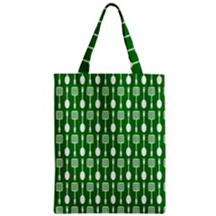 Green And White Kitchen Utensils Pattern Zipper Classic Tote Bags