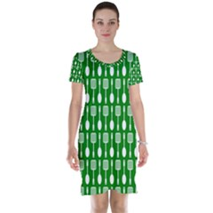 Green And White Kitchen Utensils Pattern Short Sleeve Nightdresses
