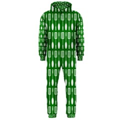 Green And White Kitchen Utensils Pattern Hooded Jumpsuit (men)