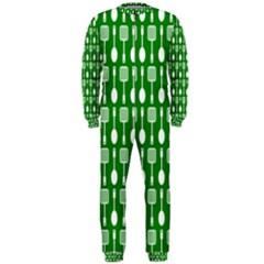 Green And White Kitchen Utensils Pattern Onepiece Jumpsuit (men)