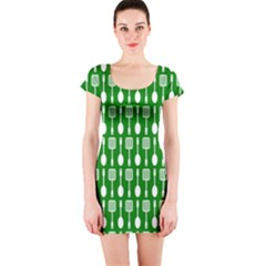 Green And White Kitchen Utensils Pattern Short Sleeve Bodycon Dresses