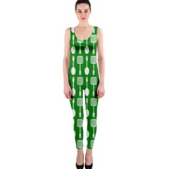 Green And White Kitchen Utensils Pattern OnePiece Catsuits