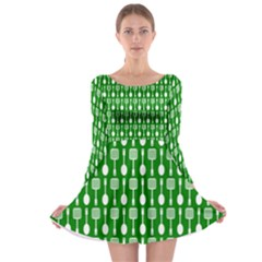 Green And White Kitchen Utensils Pattern Long Sleeve Skater Dress