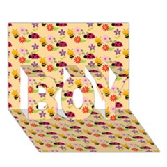 Colorful Ladybug Bess And Flowers Pattern BOY 3D Greeting Card (7x5)