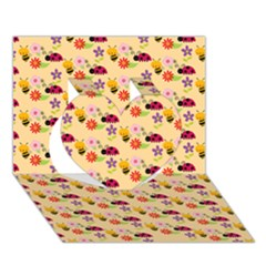 Colorful Ladybug Bess And Flowers Pattern Heart 3D Greeting Card (7x5)