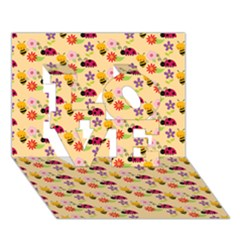 Colorful Ladybug Bess And Flowers Pattern LOVE 3D Greeting Card (7x5)