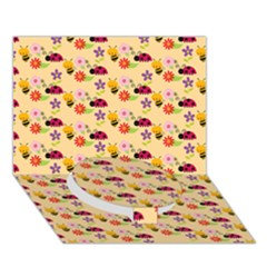 Colorful Ladybug Bess And Flowers Pattern Circle Bottom 3D Greeting Card (7x5)