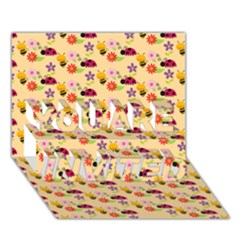 Colorful Ladybug Bess And Flowers Pattern YOU ARE INVITED 3D Greeting Card (7x5)