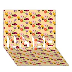 Colorful Ladybug Bess And Flowers Pattern HOPE 3D Greeting Card (7x5)