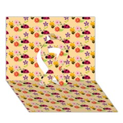 Colorful Ladybug Bess And Flowers Pattern Ribbon 3D Greeting Card (7x5)