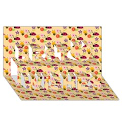 Colorful Ladybug Bess And Flowers Pattern Best Wish 3d Greeting Card (8x4)