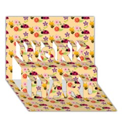 Colorful Ladybug Bess And Flowers Pattern Work Hard 3d Greeting Card (7x5)