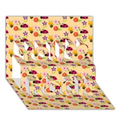 Colorful Ladybug Bess And Flowers Pattern You Rock 3d Greeting Card (7x5)