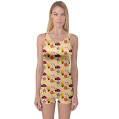 Colorful Ladybug Bess And Flowers Pattern Women s Boyleg One Piece Swimsuits