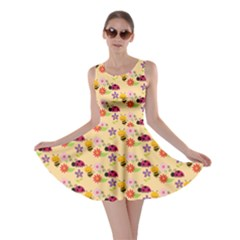 Colorful Ladybug Bess And Flowers Pattern Skater Dresses